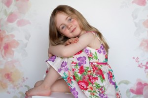 little girl in floral dress