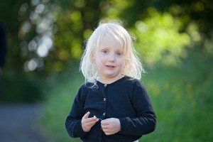 cute little girl in black cardigan
