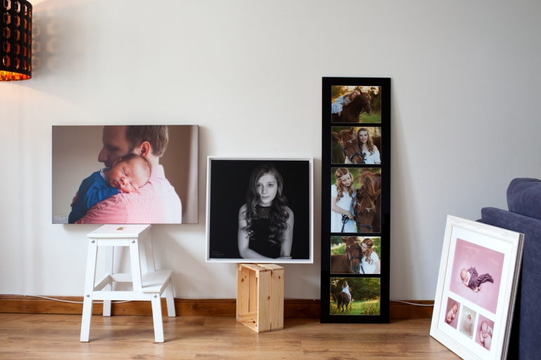 wall art pieces lined against wall family photographer Fife