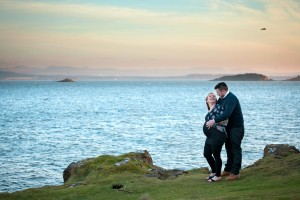 maternity-photography-Edinburgh couple with sea in the background