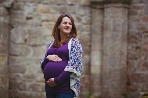 pregnant mother in historic ruins